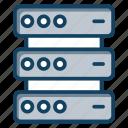 big data, data bank, data center, data server, database, server rack icon