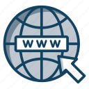 browser, domain, search bar, web search, www icon