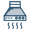 exhaust hood, extractor hood, fume extractor, kitchen hood, ventilation hood icon