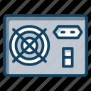 computer equipment, hardware, pc power supply, power unit, psu icon