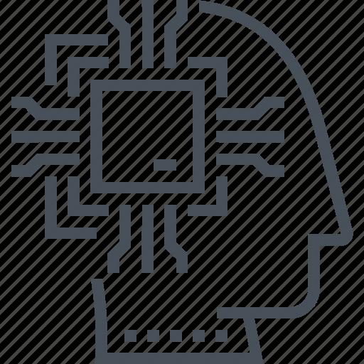 artificial, brain, computer, human, intelligance, robot icon