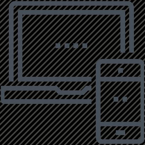 computer, desktop computer, mobile phone, network, sync icon, synchronize, technology icon