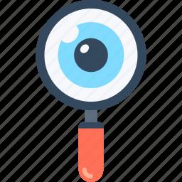 explore, eye, glass, magnifying, optimization, search, seo icon