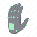 cartoon, electronic, entertainment, glove, reality, technology icon