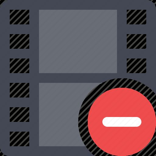 cinema, film, filmroll, filmstrip, media, movie, remove video icon