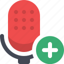 add microphone, communication, microphone, podcast, radio show, speech, talk icon