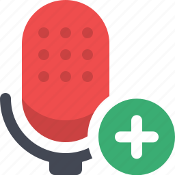 add microphone, communication, microphone, podcast, radio show, speech, talk icon