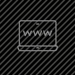 address, internet, laptop, media, screen, website, www icon