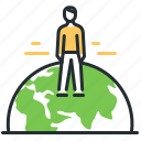 alone, earth, human, loneliness icon