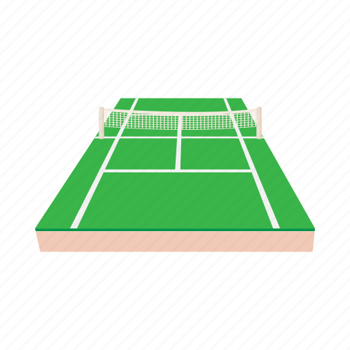cartoon, court, game, green, leisure, net, tennis icon