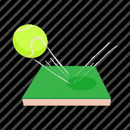 ball, cartoon, court, game, leisure, net, tennis icon