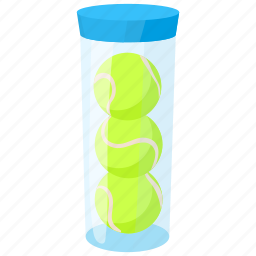 ball, cartoon, container, equipment, plastic, racket, tennis icon