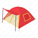 camp, hiking, isometric, object, outdoor, red, tent