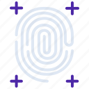 biometrics, fingerprint, interface, scan, security, touch icon