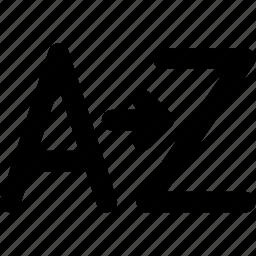 a, alphabet, arrange, arrow, creative, file, font, format, grid, letter, mark, shape, sorting, text, z icon