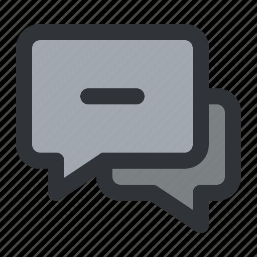 chat, communication, conversation, message, minus, remove icon