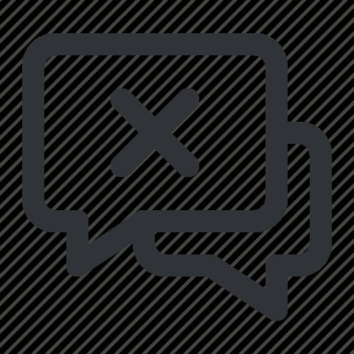 chat, communication, conversation, message, remove icon