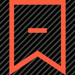 bookmark, decrease, delete, function, remove icon