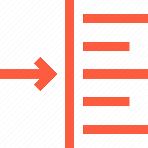 aligning, alignment, editing, indent, left, lining, text icon