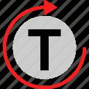 edit, loop, refresh, text icon