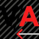 closer, shift, text icon