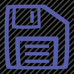 data, discette, disk, drive, save, savefile, store icon