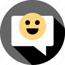 communication, happyface, messaging, pop, talk, text, up icon