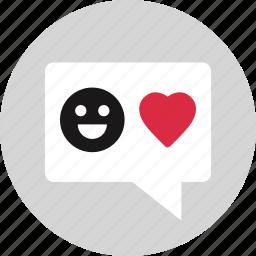 heart, in, love, smile, valentines icon