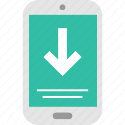 arrow, down, message, phone, receive, sms, text icon