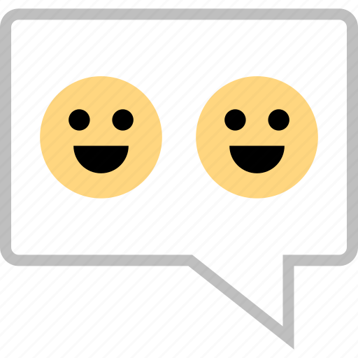 faces, happy, message, sms, text, two icon
