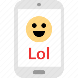 laugh, loud, message, out, phone, sms, text icon