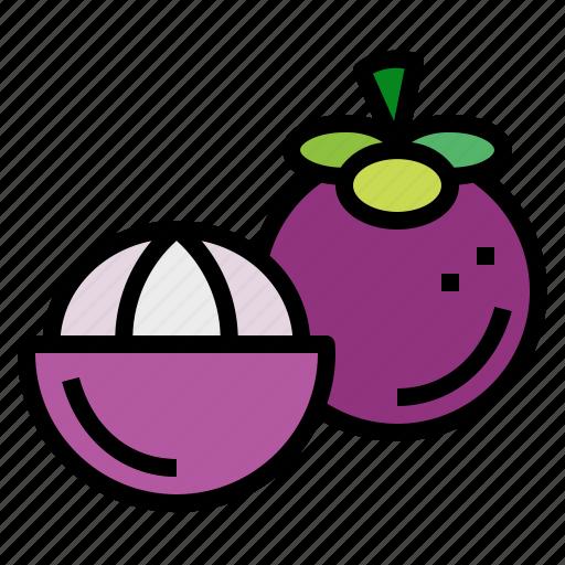 fruit, mangosteen, organic, vegan icon
