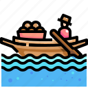 boat, culture, cultures, market, thailand, transportation, water icon