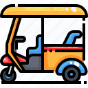 cultures, rickshaw, thailand, tourism, transportation, tuk, wheeler icon