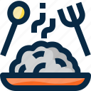 dish, food, fork, restaurant, rice, spoon, thailand icon
