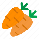 carrot, food, orange, vegetable icon