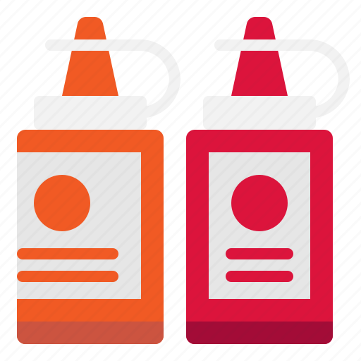 bottle, ketchup, mustard, sauce icon
