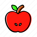apple, autumn, fruit, half, idea icon