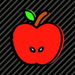apple, autumn, fruit, half, idea icon
