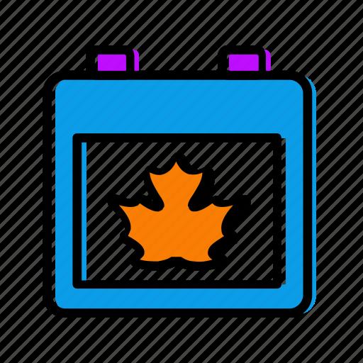 autumn, calendar, date, maple, month icon