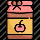 apple, fresh, fruit, fruits, jam, jar, thanksgiving icon