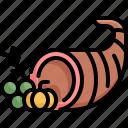 basket, cornucopia, fruit, healthy, thanksgiving, vegetable icon