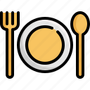 appliance, cooking, fork, kitchen, plate, restaurant, spoon icon