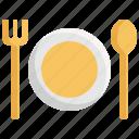 appliance, fork, kitchen, plate, restaurant, spoon