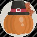 decoration, fall, hat, orange, pumpkin, thanksgiving, tradition
