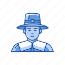 man, pilgrim, pilgrim hat, pilgrim man icon