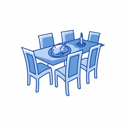 dinner, dinner table, table and chair, thanksgiving dinner icon