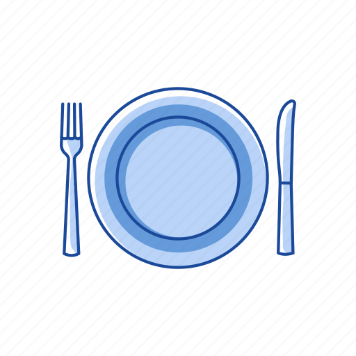 dinner setting, dinner table, fork and bread knife, plate icon