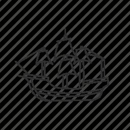 boat, mayflower, prirate ship, sail boat, ship, thanksgiving, wooden ship icon