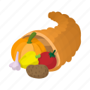 autumn, cartoon, cornucopia, gourd, harvest, horn, thanksgiving icon